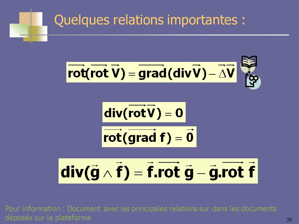 Quelques relations importantes :