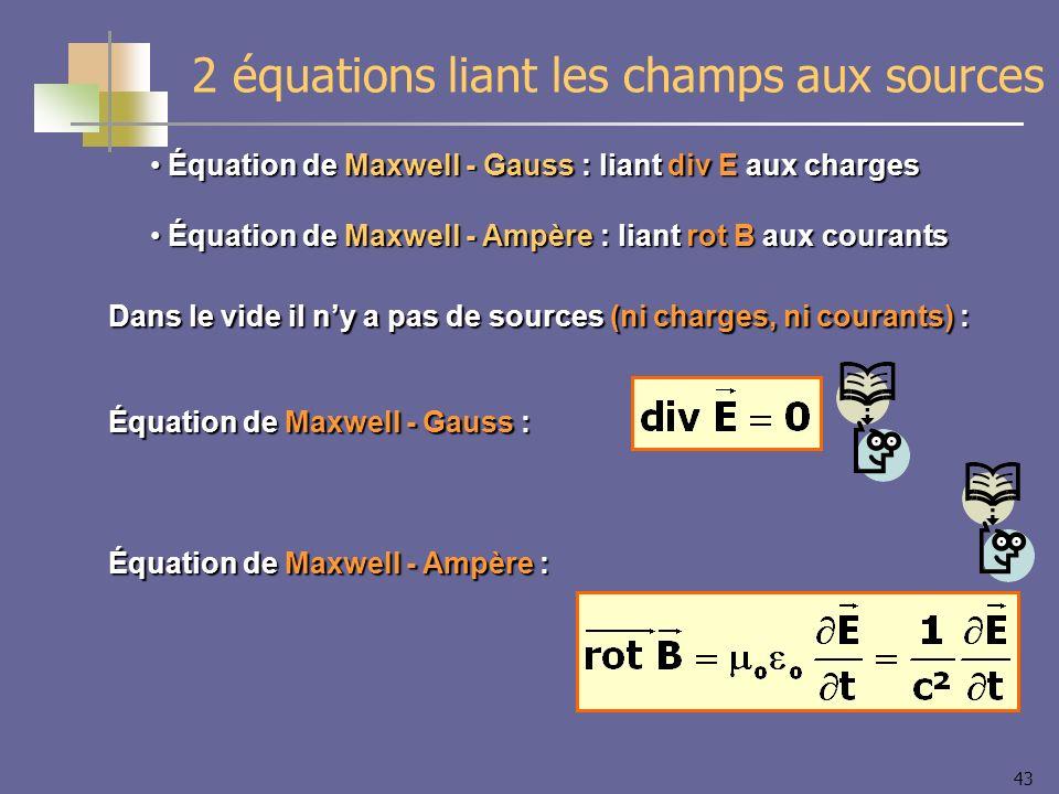 2 équations liant les champs aux sources