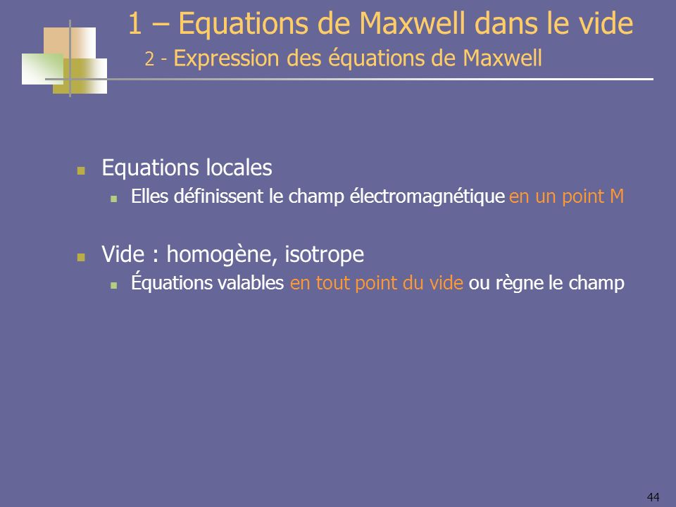 1 – Equations de Maxwell dans le vide