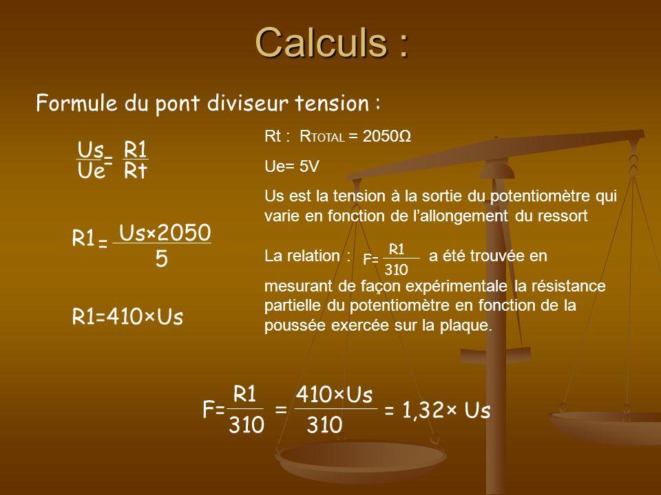 Calculs : Formule du pont diviseur tension : Us R1 = Ue Rt Us×2050 R1
