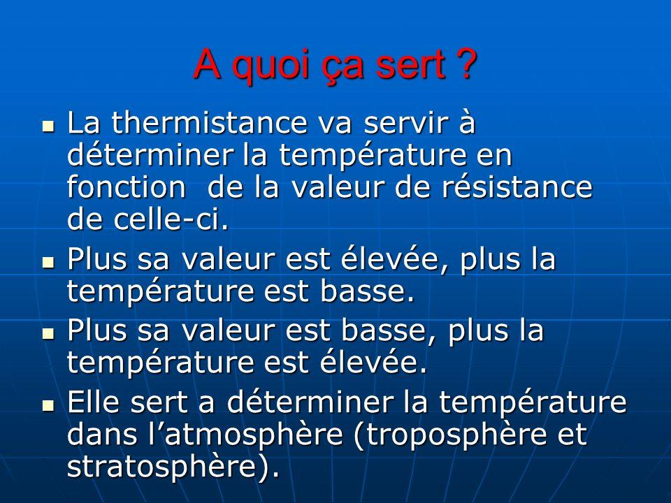 A quoi ça sert La thermistance va servir à déterminer la température en fonction de la valeur de résistance de celle-ci.