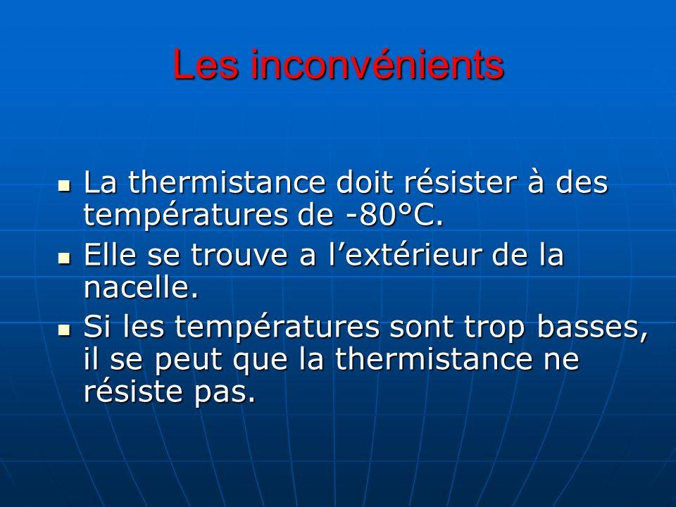 Les inconvénients La thermistance doit résister à des températures de -80°C. Elle se trouve a l'extérieur de la nacelle.
