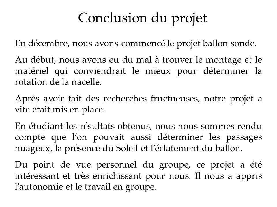 Conclusion du projetEn décembre, nous avons commencé le projet ballon sonde.