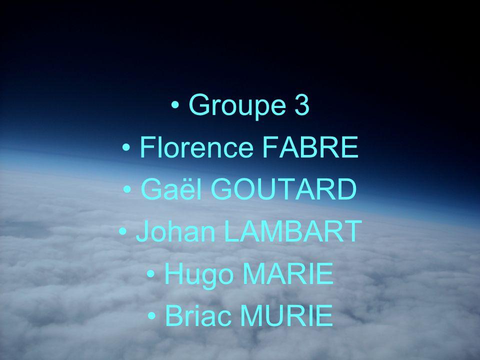 Groupe 3 Florence FABRE Gaël GOUTARD Johan LAMBART Hugo MARIE Briac MURIE