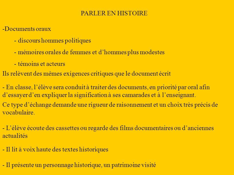 PARLER EN HISTOIRE Documents oraux. discours hommes politiques. mémoires orales de femmes et d'hommes plus modestes.