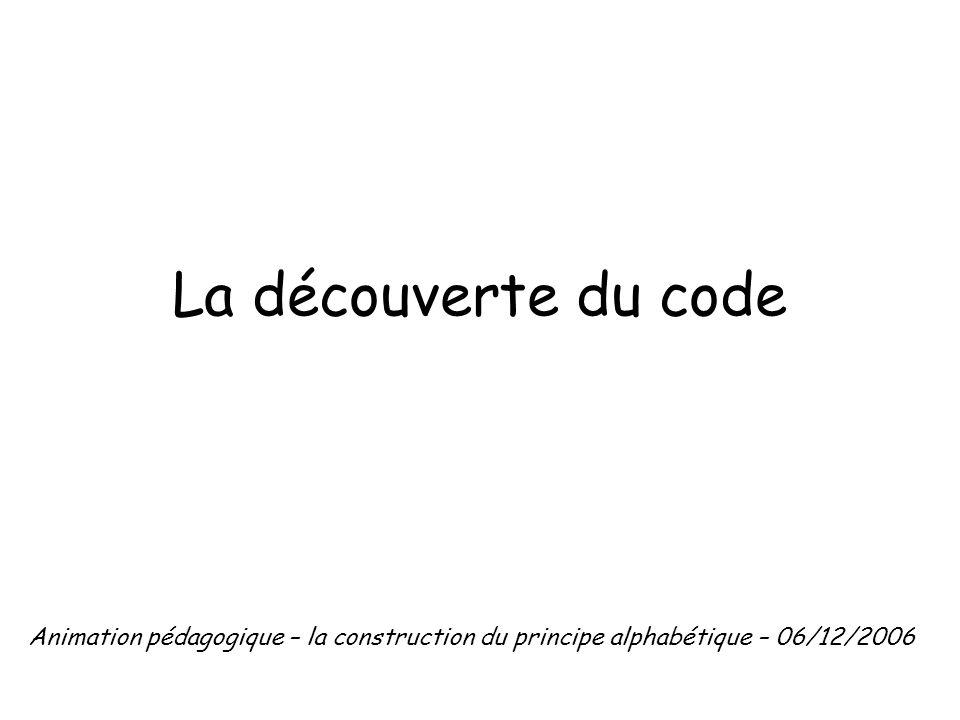 La découverte du code Animation pédagogique – la construction du principe alphabétique – 06/12/2006