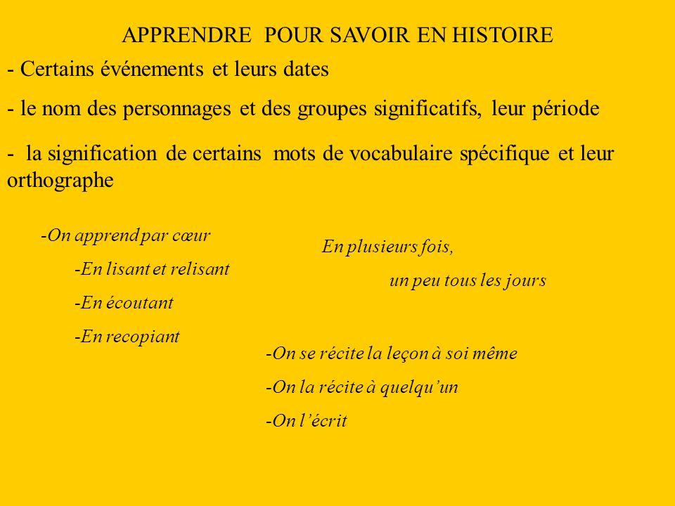 APPRENDRE POUR SAVOIR EN HISTOIRE