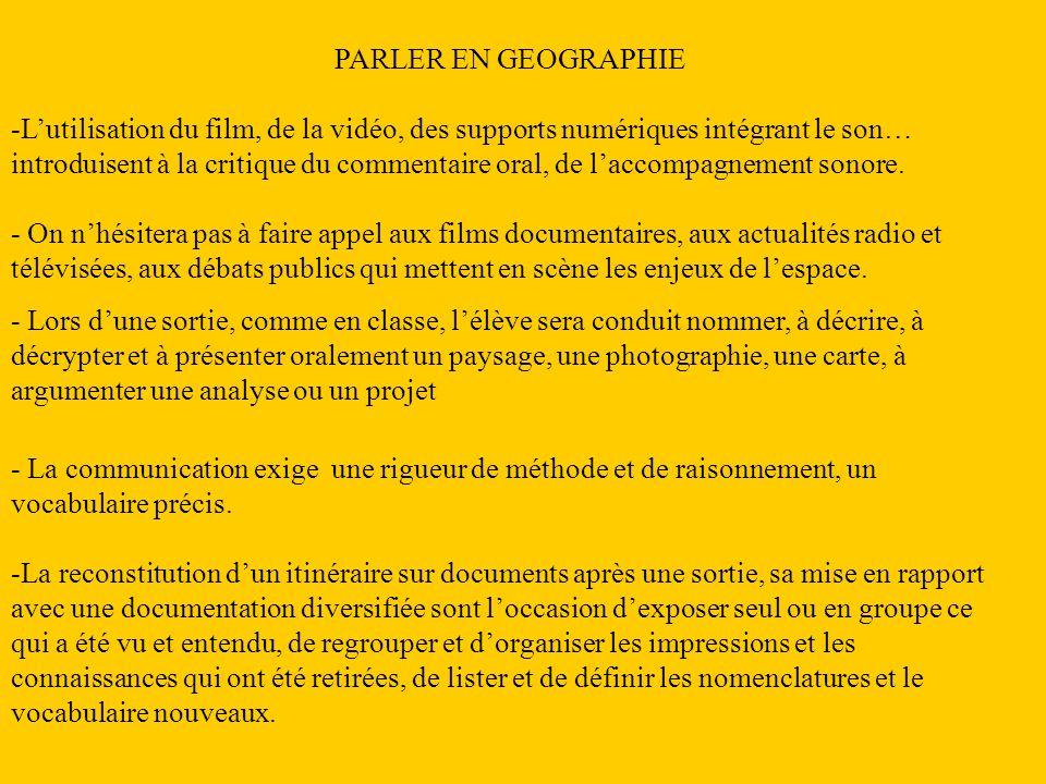PARLER EN GEOGRAPHIE