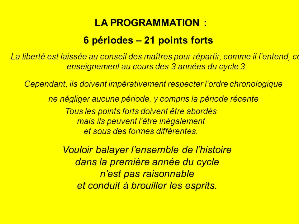 6 périodes – 21 points forts