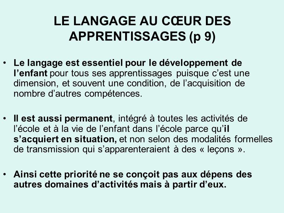 LE LANGAGE AU CŒUR DES APPRENTISSAGES (p 9)