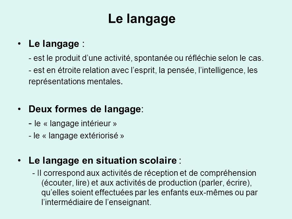 Le langage Le langage : - est le produit d'une activité, spontanée ou réfléchie selon le cas.