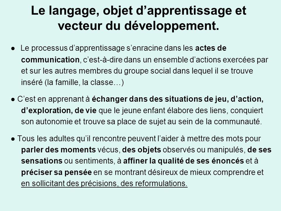 Le langage, objet d'apprentissage et vecteur du développement.