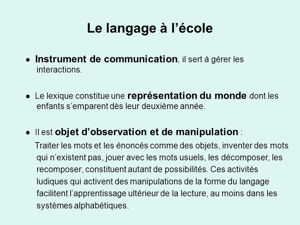 Le langage à l'école ● Instrument de communication, il sert à gérer les interactions.