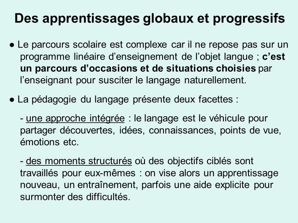 Des apprentissages globaux et progressifs
