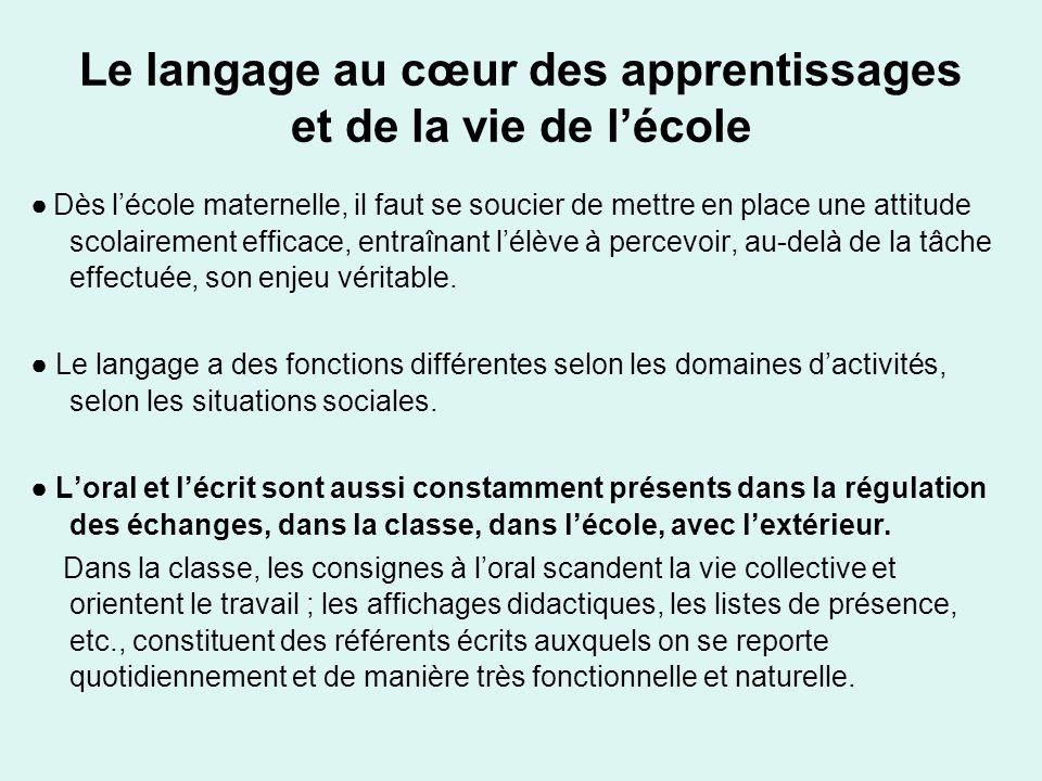Le langage au cœur des apprentissages et de la vie de l'école