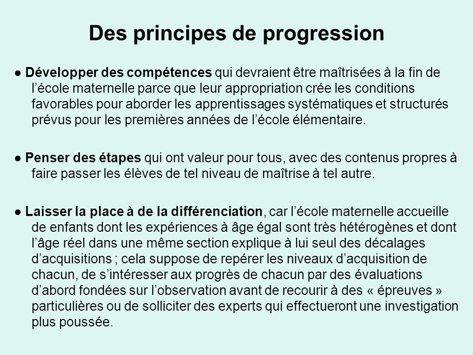 Des principes de progression