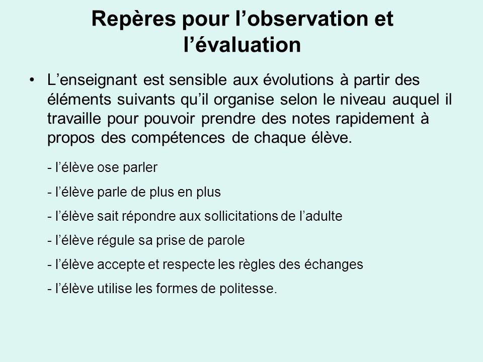 Repères pour l'observation et l'évaluation
