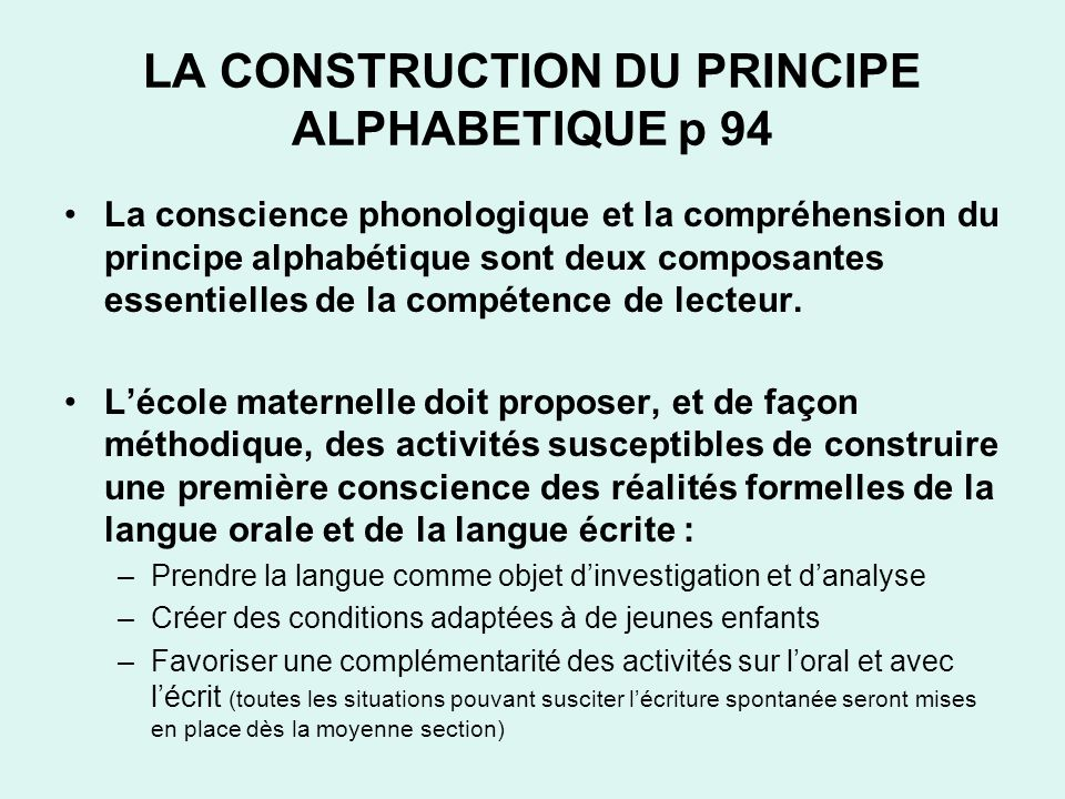 LA CONSTRUCTION DU PRINCIPE ALPHABETIQUE p 94