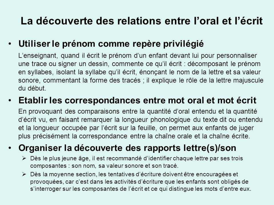 La découverte des relations entre l'oral et l'écrit