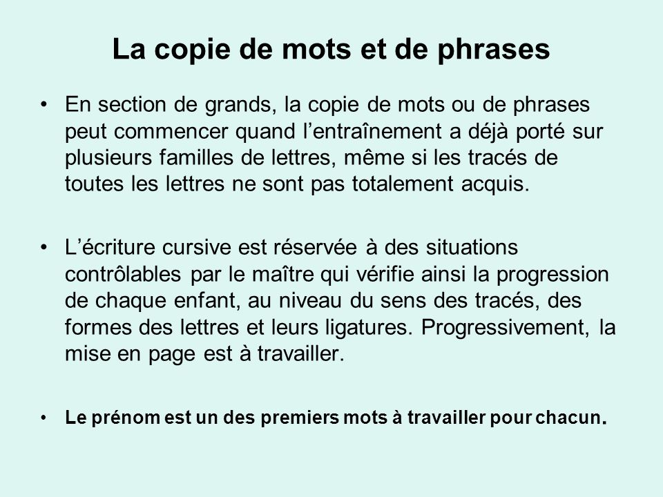 La copie de mots et de phrases