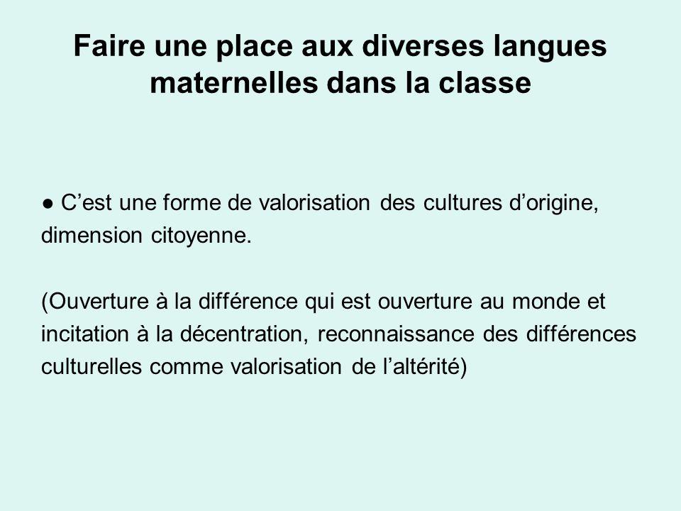 Faire une place aux diverses langues maternelles dans la classe