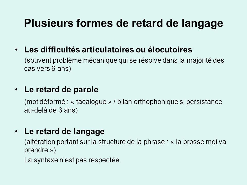 Plusieurs formes de retard de langage