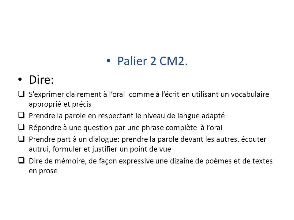 Palier 2 CM2. Dire: S'exprimer clairement à l'oral comme à l'écrit en utilisant un vocabulaire approprié et précis.