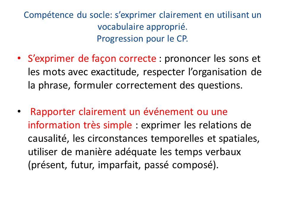 Compétence du socle: s'exprimer clairement en utilisant un vocabulaire approprié. Progression pour le CP.