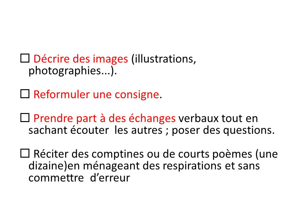 Décrire des images (illustrations, photographies...).