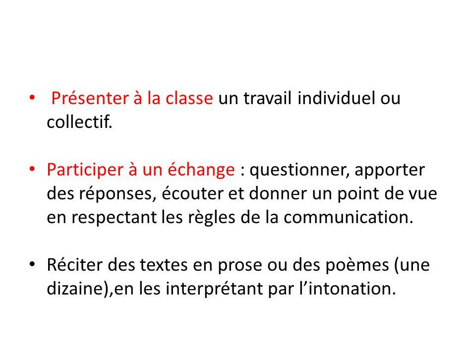 Présenter à la classe un travail individuel ou collectif.