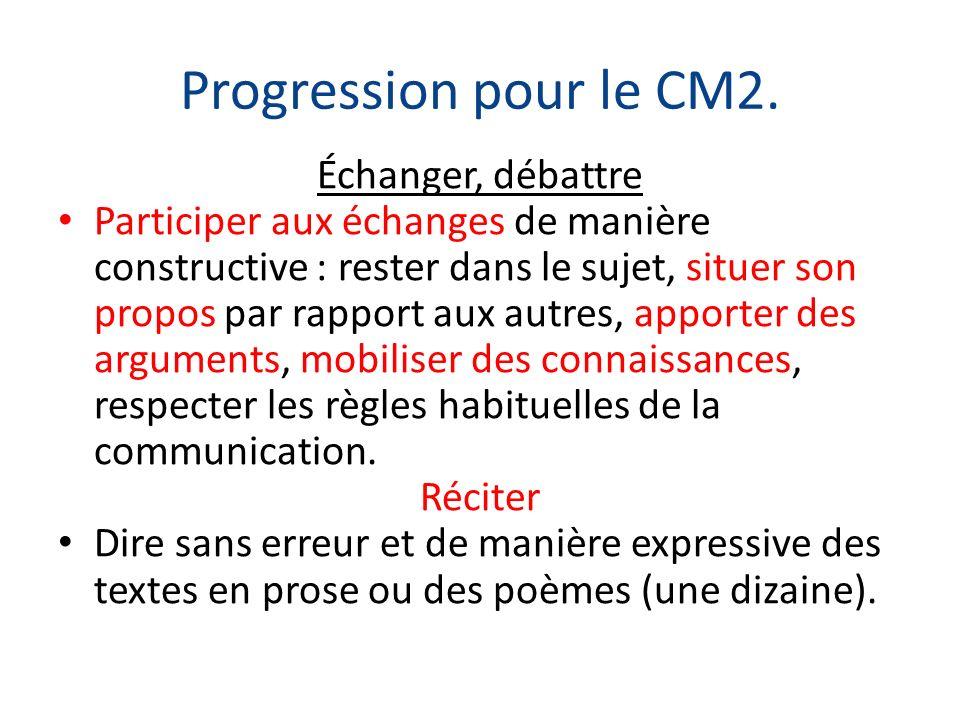 Progression pour le CM2. Échanger, débattre