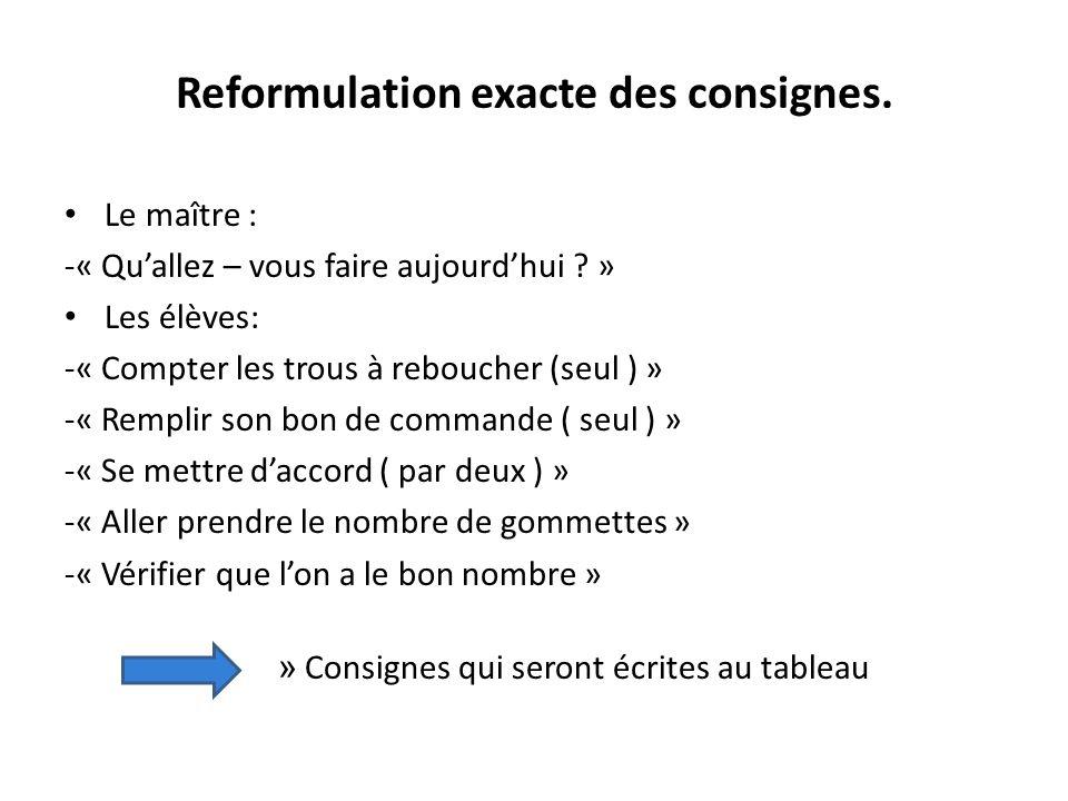 Reformulation exacte des consignes.