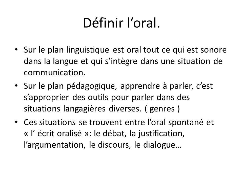 Définir l'oral. Sur le plan linguistique est oral tout ce qui est sonore dans la langue et qui s'intègre dans une situation de communication.