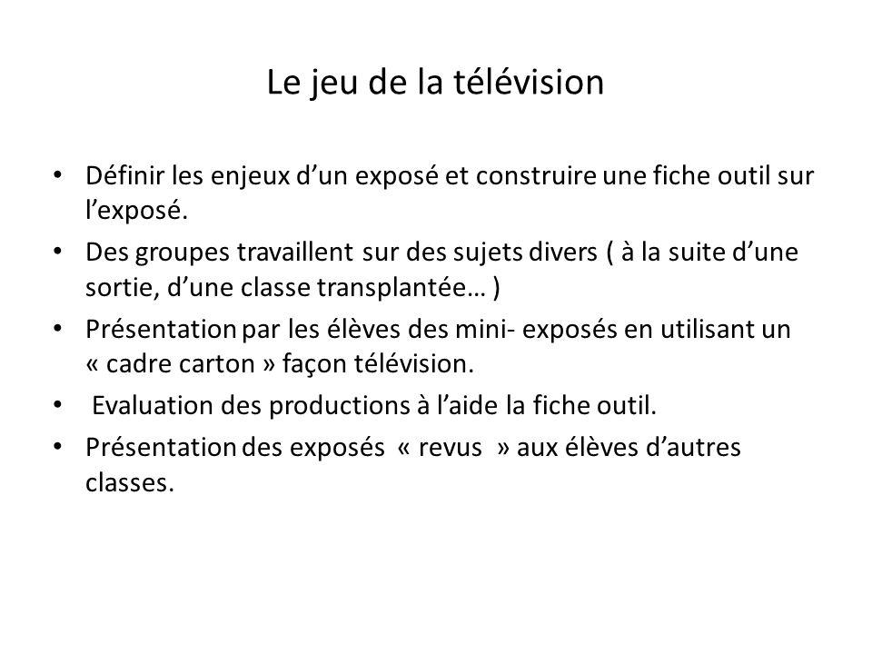 Le jeu de la télévision Définir les enjeux d'un exposé et construire une fiche outil sur l'exposé.