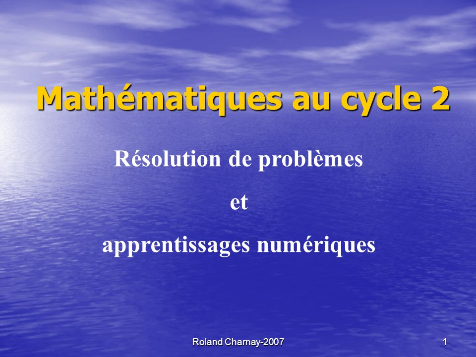 Mathématiques au cycle 2