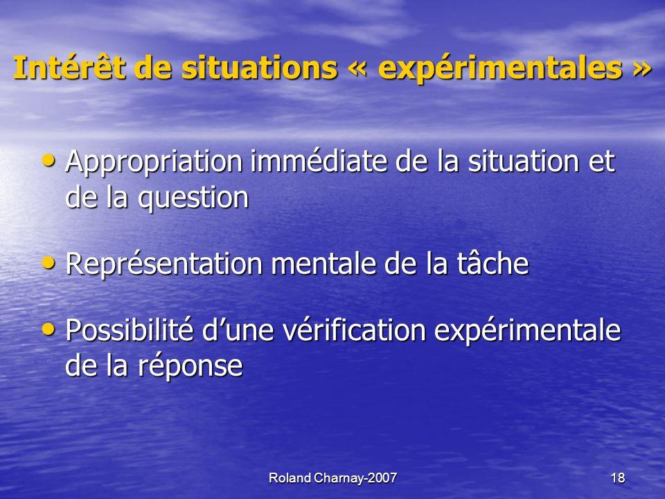 Intérêt de situations « expérimentales »