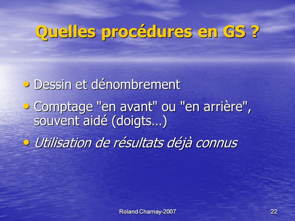 Quelles procédures en GS