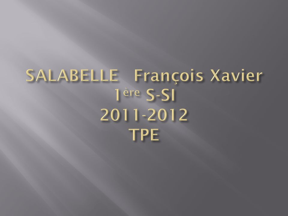 SALABELLE François Xavier 1ère S-SI 2011-2012 TPE
