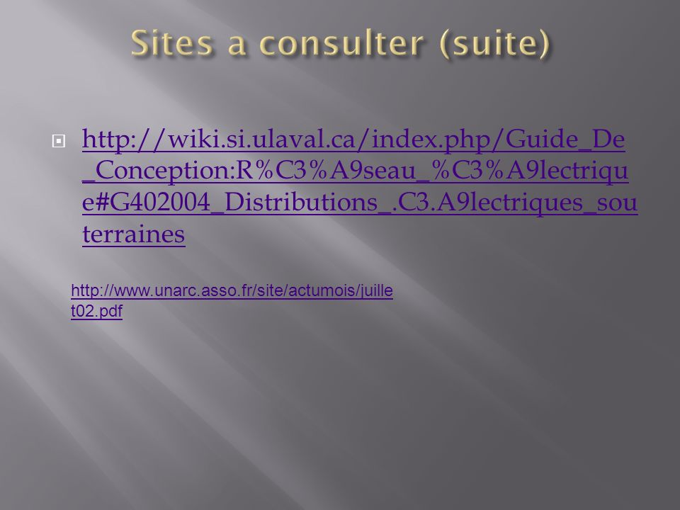 Sites a consulter (suite)