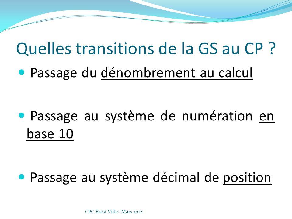 Quelles transitions de la GS au CP