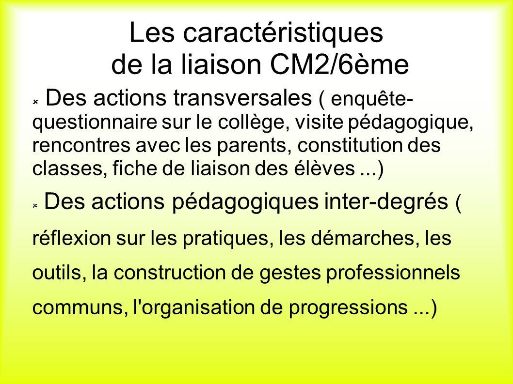 Les caractéristiques de la liaison CM2/6ème