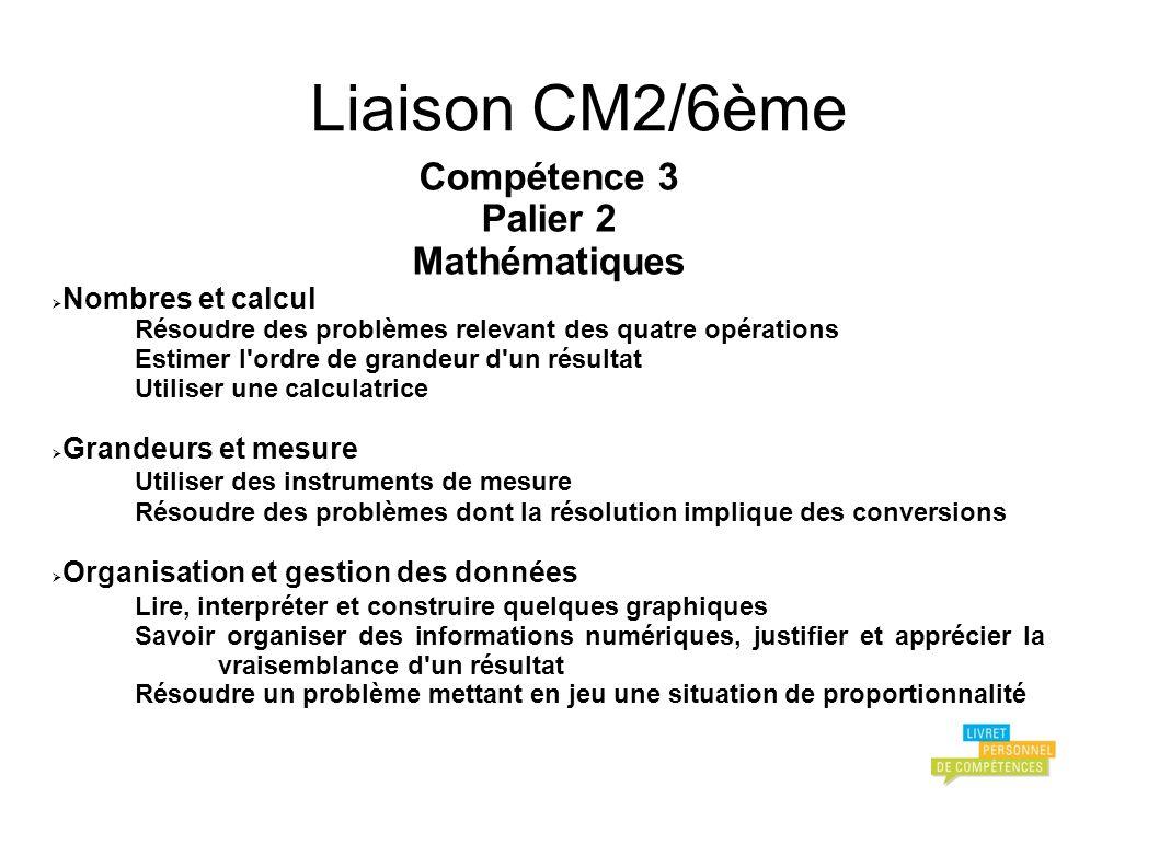 Liaison CM2/6ème Compétence 3 Palier 2 Mathématiques Nombres et calcul