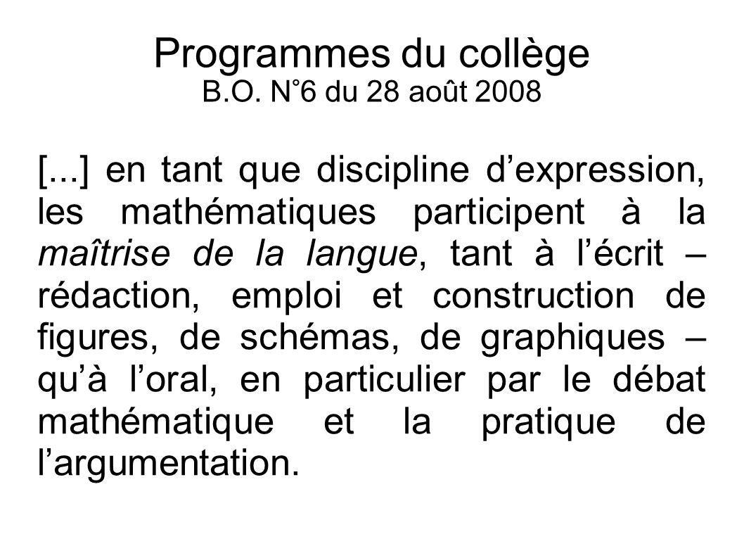 Programmes du collège B.O. N°6 du 28 août 2008