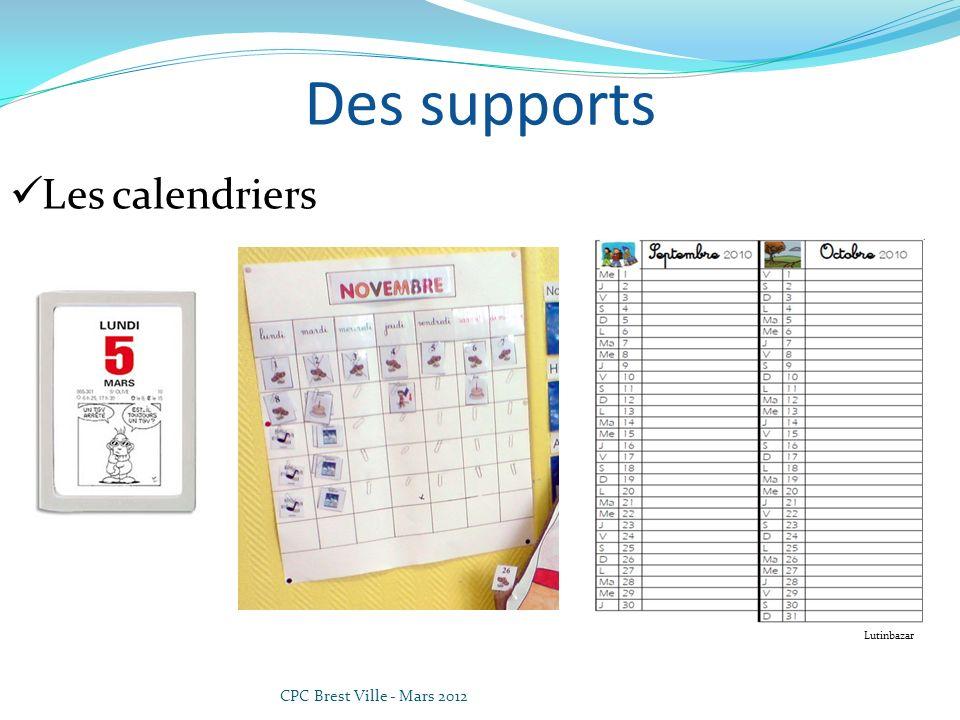 Des supports Les calendriers Lutinbazar CPC Brest Ville - Mars 2012