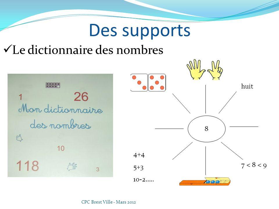 Des supports Le dictionnaire des nombres huit 8 4+4 5+3 10-2…..