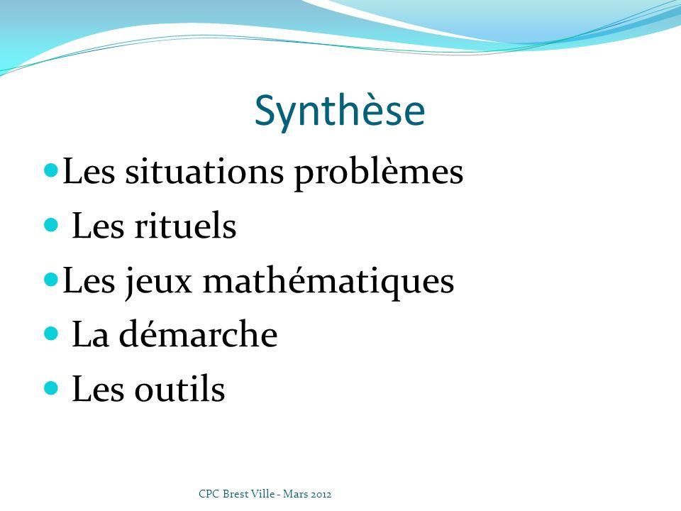 Synthèse Les situations problèmes Les rituels Les jeux mathématiques
