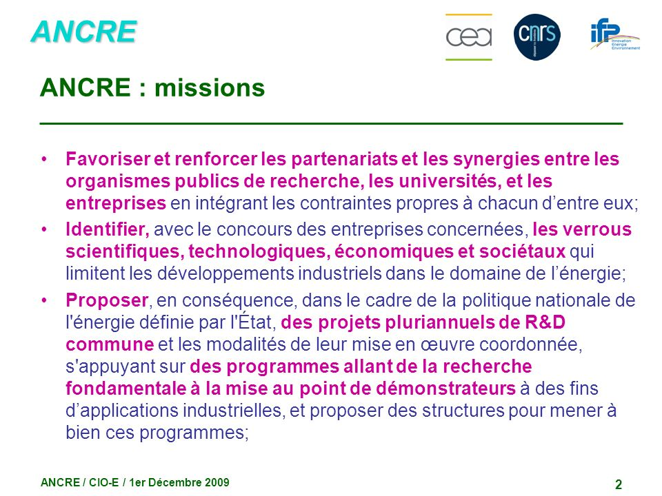 ANCRE : missions