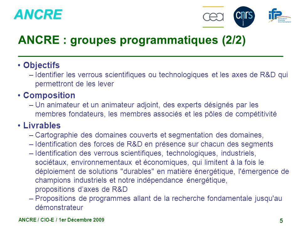 ANCRE : groupes programmatiques (2/2)