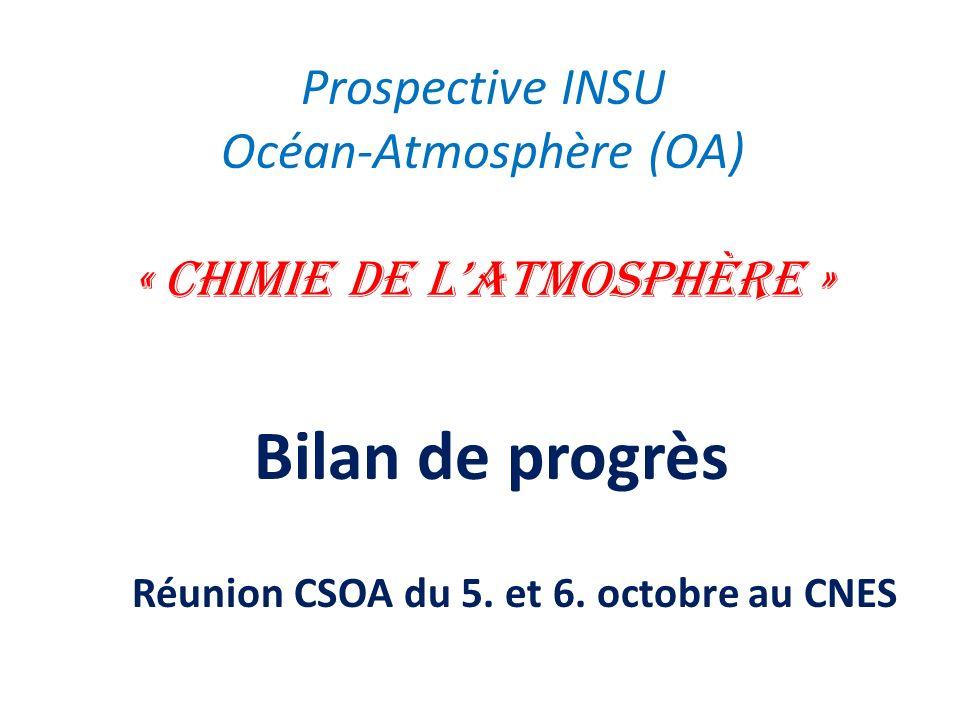 Prospective INSU Océan-Atmosphère (OA) « Chimie de l'atmosphère »