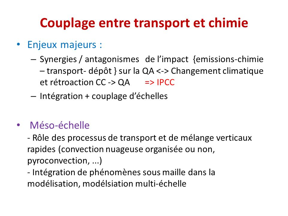 Couplage entre transport et chimie